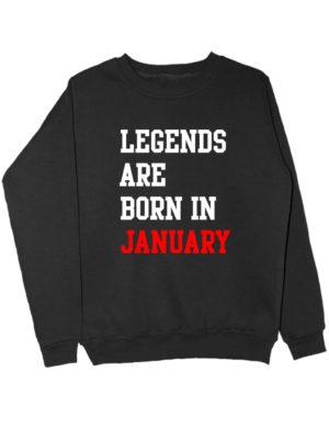 Свитшот Legend are born in january черный