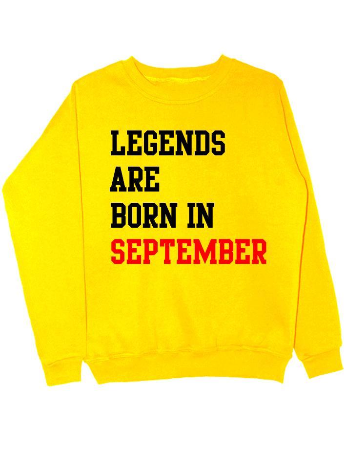 Свитшот Legend are born in september желтый