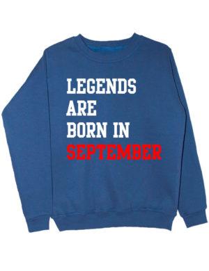 Свитшот Legend are born in september индиго