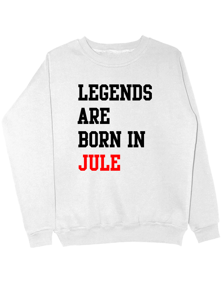 Свитшот Legends are born in jule белый