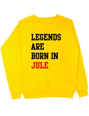 Свитшот Legends are born in jule желтый