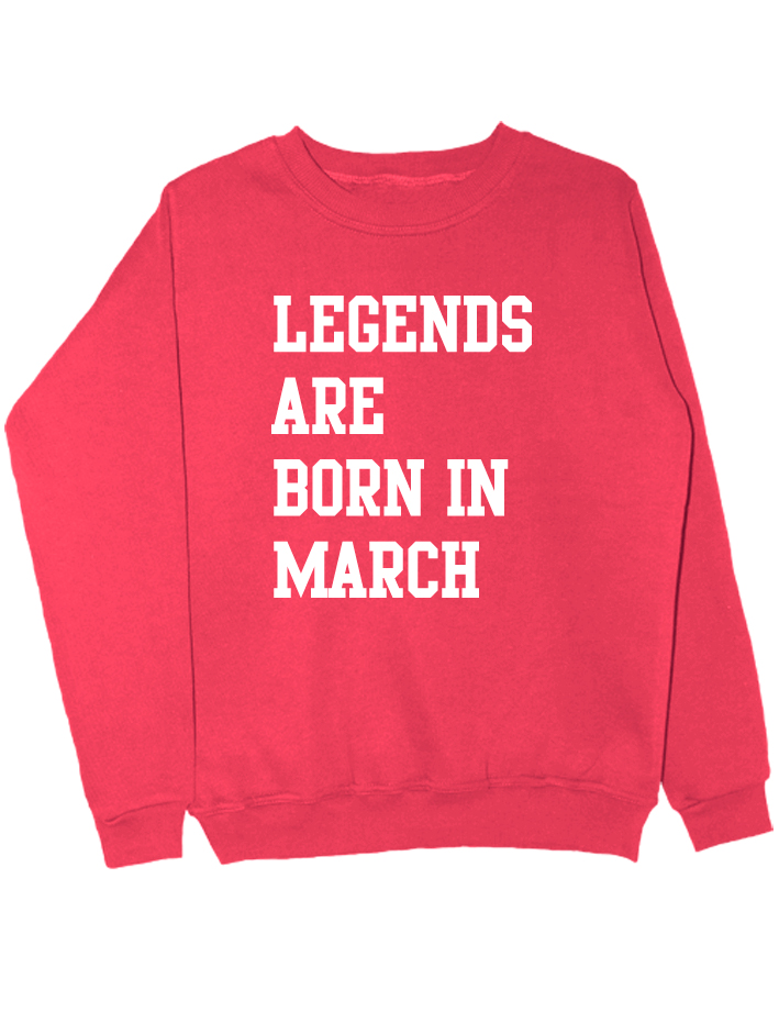 Свитшот Legends are born in march коралловый