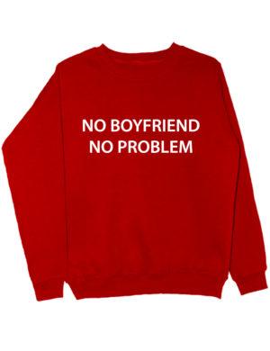 Свитшот No boyfriend no problem красный