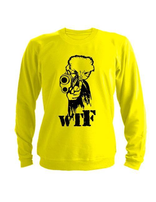 Свитшот WTF с пистолетом желтый