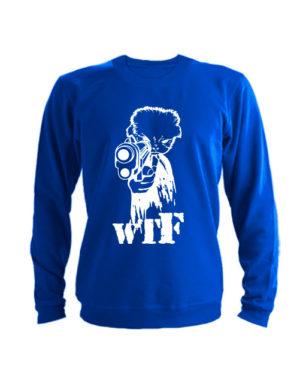 Свитшот WTF с пистолетом синий