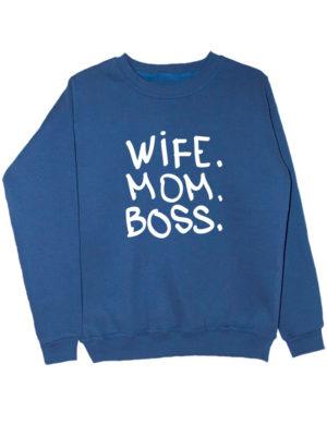 Свитшот Wife Mom Boss индиго