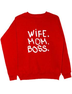Свитшот Wife Mom Boss красный