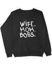 Свитшот Wife Mom Boss черный
