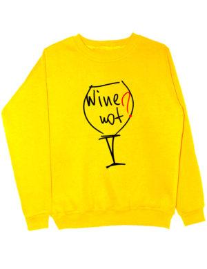 Свитшот Wine not желтый