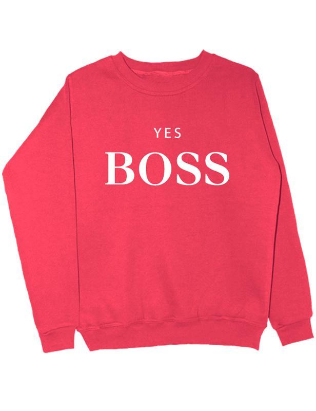 Свитшот Yes boss коралловый