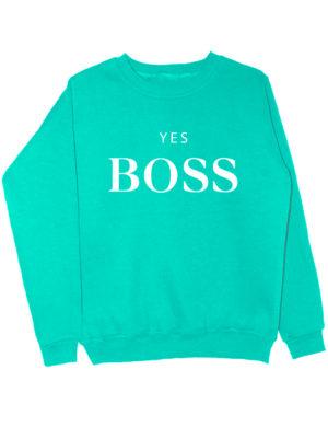 Свитшот Yes boss мятный