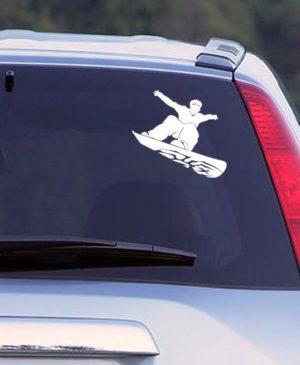 Наклейка на авто Сноубордист, белая