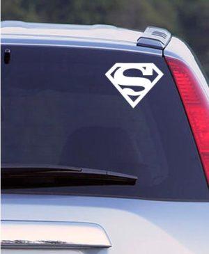 Наклейка на авто Супермен, белая