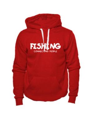 Толстовка Fishing connecting people красная