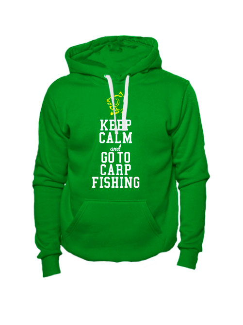 Толстовка Keep calm and go to carp fishing зеленая