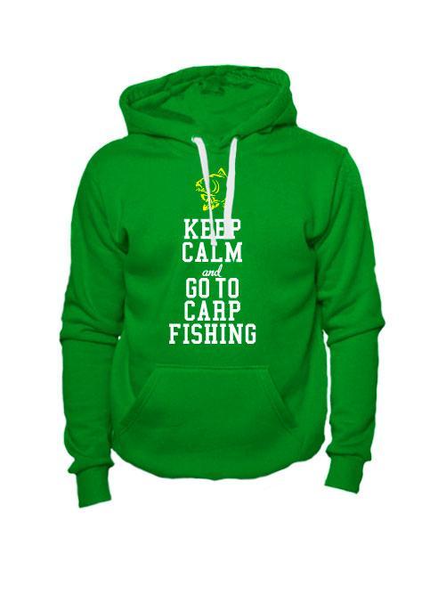 Толстовка Keep calm and go to carp fishing зеленая