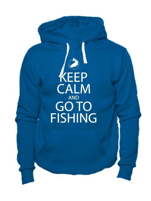 Толстовка Keep calm and go to fishing индиго