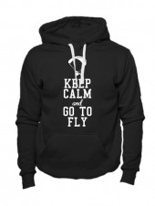 Толстовка Keep calm and go to fly черная