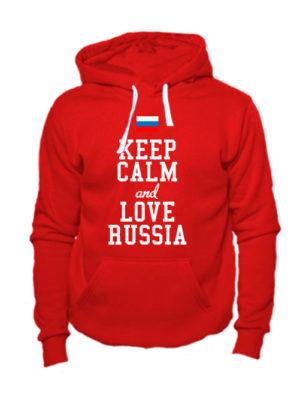 Толстовка Keep calm and love Russia красная