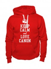 Толстовка Keep calm and love canon красная