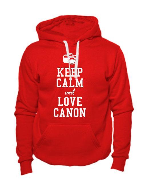 Толстовка Keep calm and love canon красная