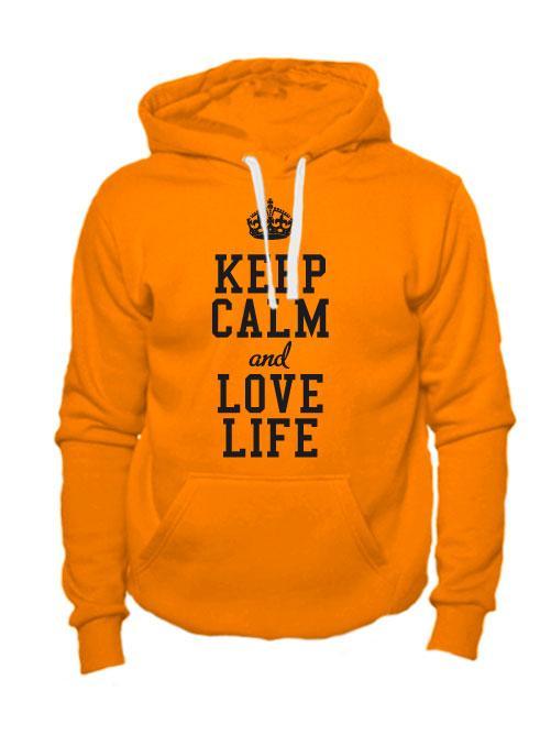 Толстовка Keep calm and love life оранжевая