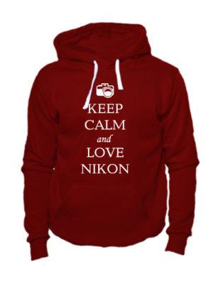 Толстовка Keep calm and love nikon вишневая
