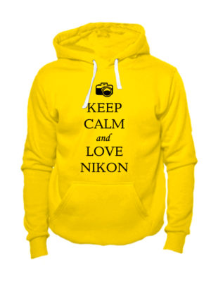 Толстовка Keep calm and love nikon желтая