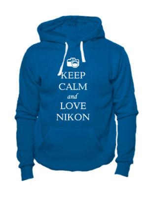 Толстовка Keep calm and love nikon индиго