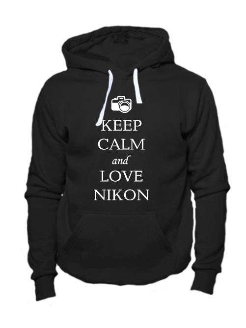 Толстовка Keep calm and love nikon черная