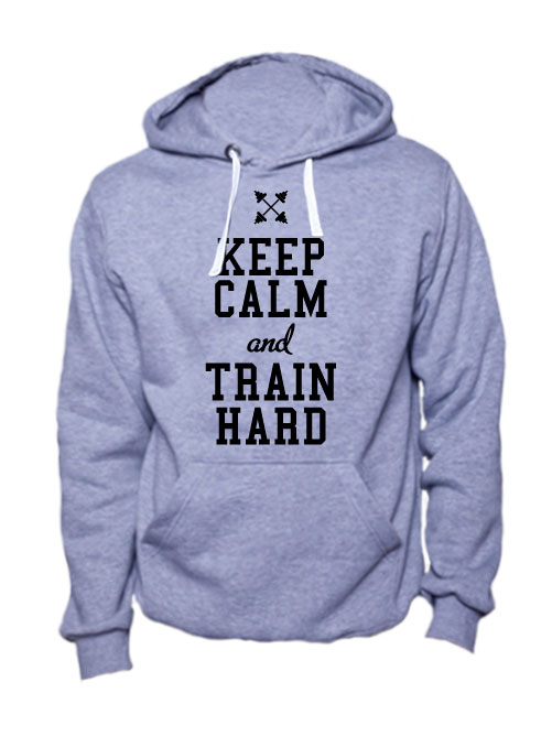 Толстовка Keep calm and train hard серая