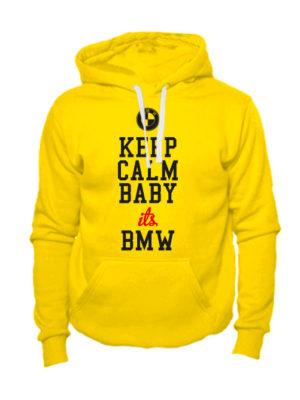 Толстовка Keep calm baby it's BMW желтая