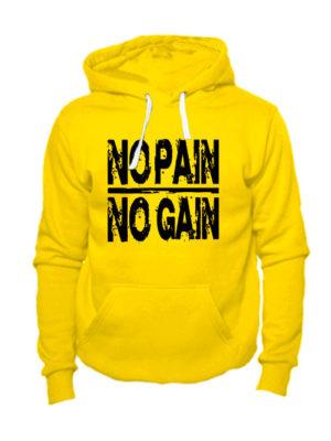 Толстовка No pain no gain желтая