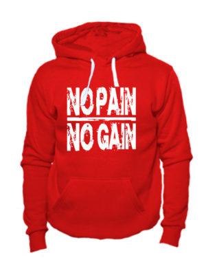 Толстовка No pain no gain красная