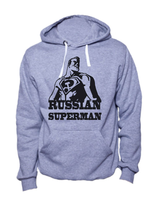 Толстовка Russian superman серая