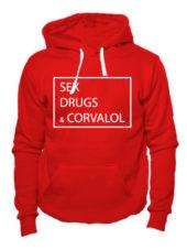 Толстовка Sex Drugs Corvalol красная