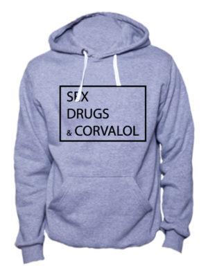 Толстовка Sex Drugs Corvalol серая