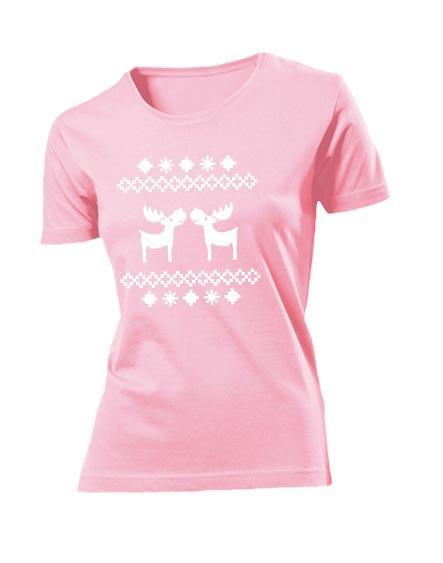 Футболка Олени женская розовая