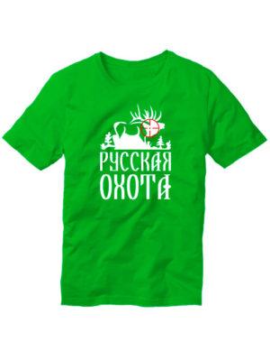 Футболка Русская охота Лось зеленая