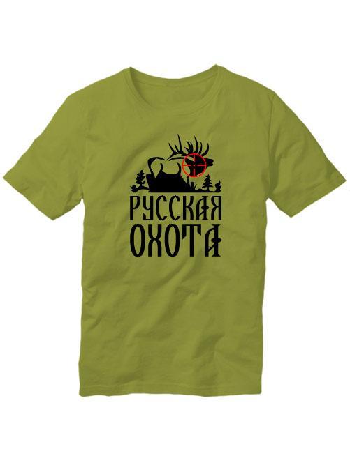 Футболка Русская охота Лось оливковая