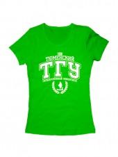 Футболка ТГУ женская зеленая