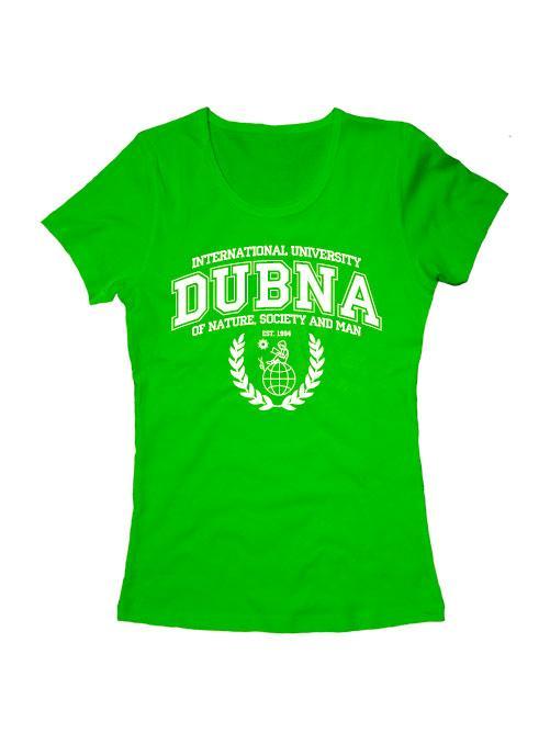 Футболка Университет Дубна женская зеленая