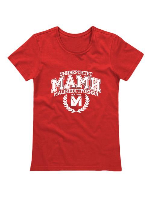 Футболка Университет МАМИ женская красная