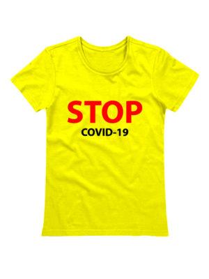 Футболка женская Stop covid-19 желтая