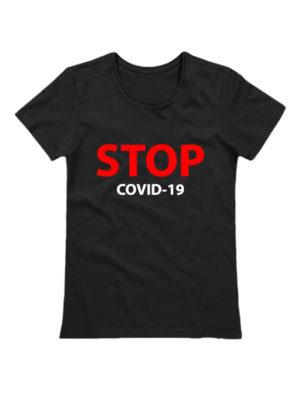 Футболка женская Stop covid-19 черная