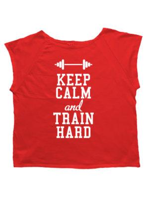 Футболка хулиганка Keep calm and train hard красная