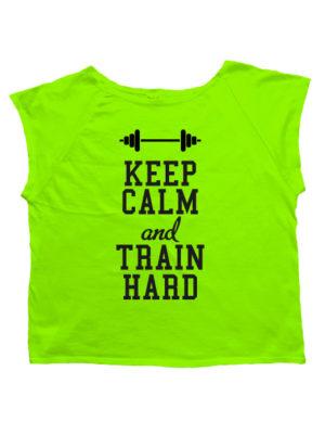 Футболка хулиганка Keep calm and train hard салатовая