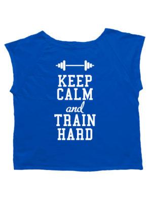Футболка хулиганка Keep calm and train hard синяя
