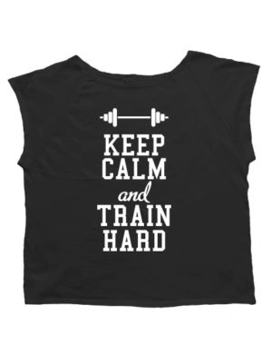 Футболка хулиганка Keep calm and train hard черная