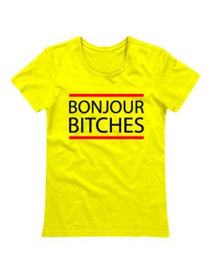 Футболка Bonjour Bitches желтая